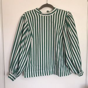 Topshop Green Striped Balloon Sleeve Top